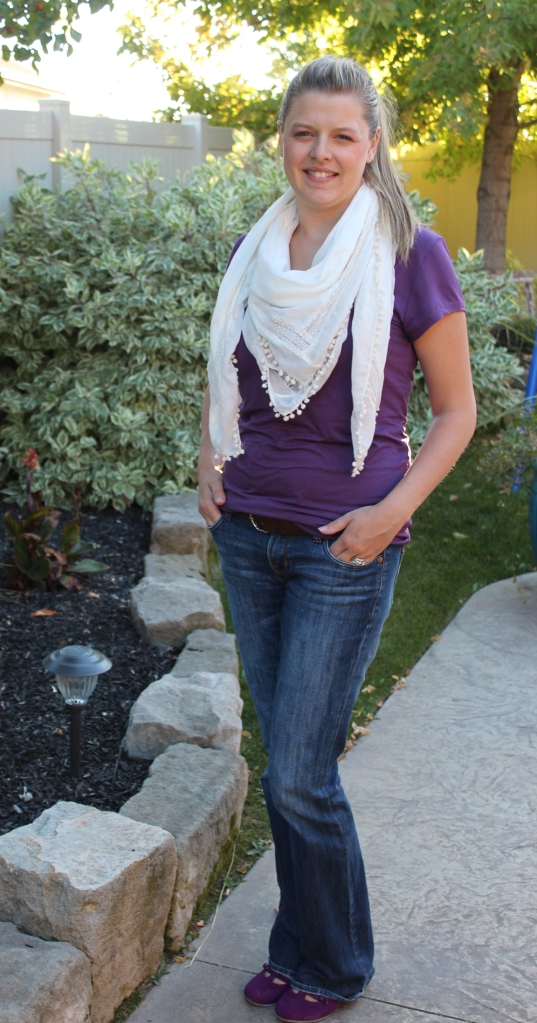 purple with scarf