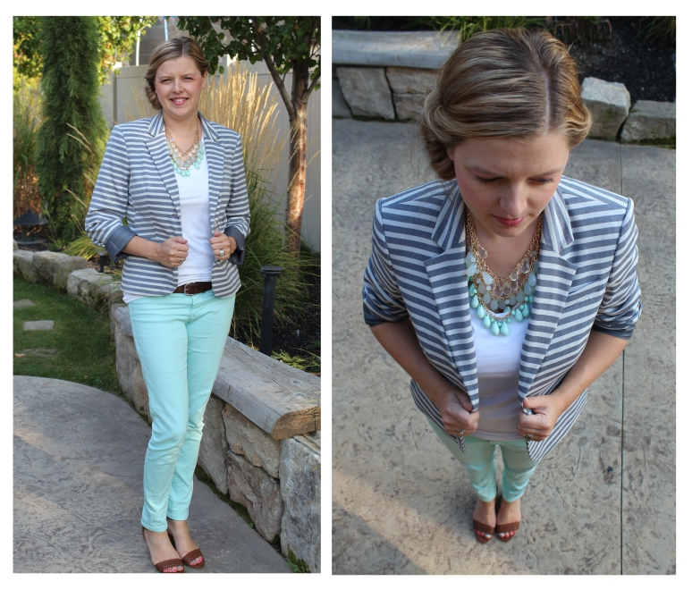 stripe jacket and mint pants